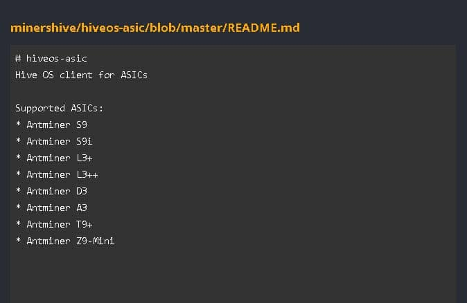 Hive OS client for ASICs list