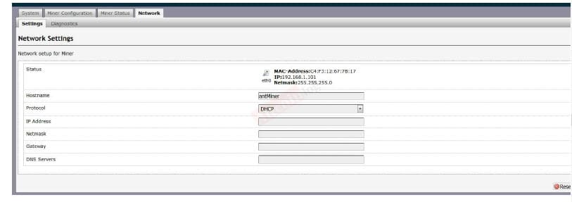 Network section, you can assign a DHCP IP address