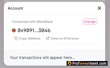 the wallet is connected to the Uniswap exchange