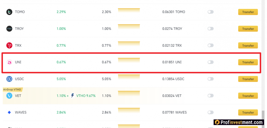 Earning UNI on Binance Earn