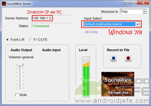 SoundWire Server PC successfully connected.  Audio playing on the Android device.