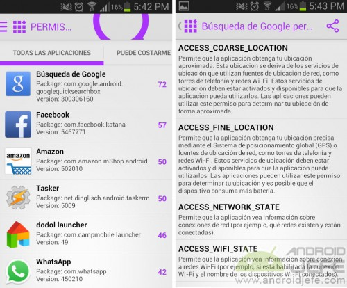 how to see permissions installed android applications