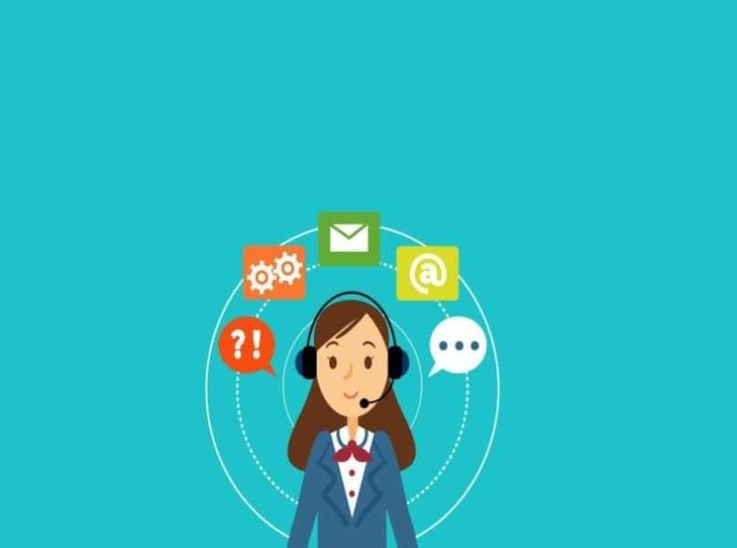 person icon gear messaging and text on light blue background