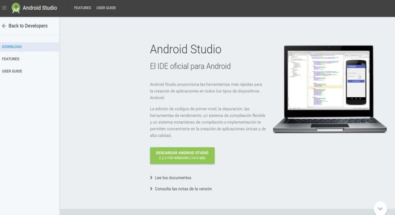 android studio download tab